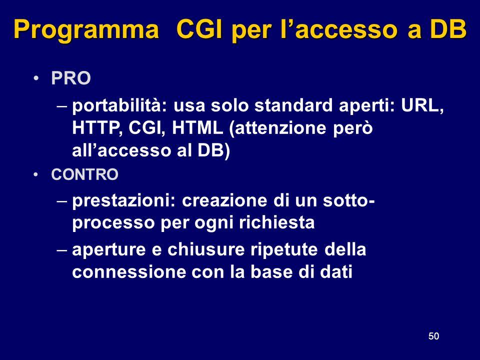 Programma CGI per l'accesso a DB