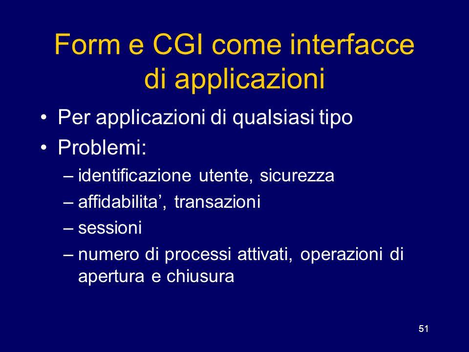 Form e CGI come interfacce di applicazioni