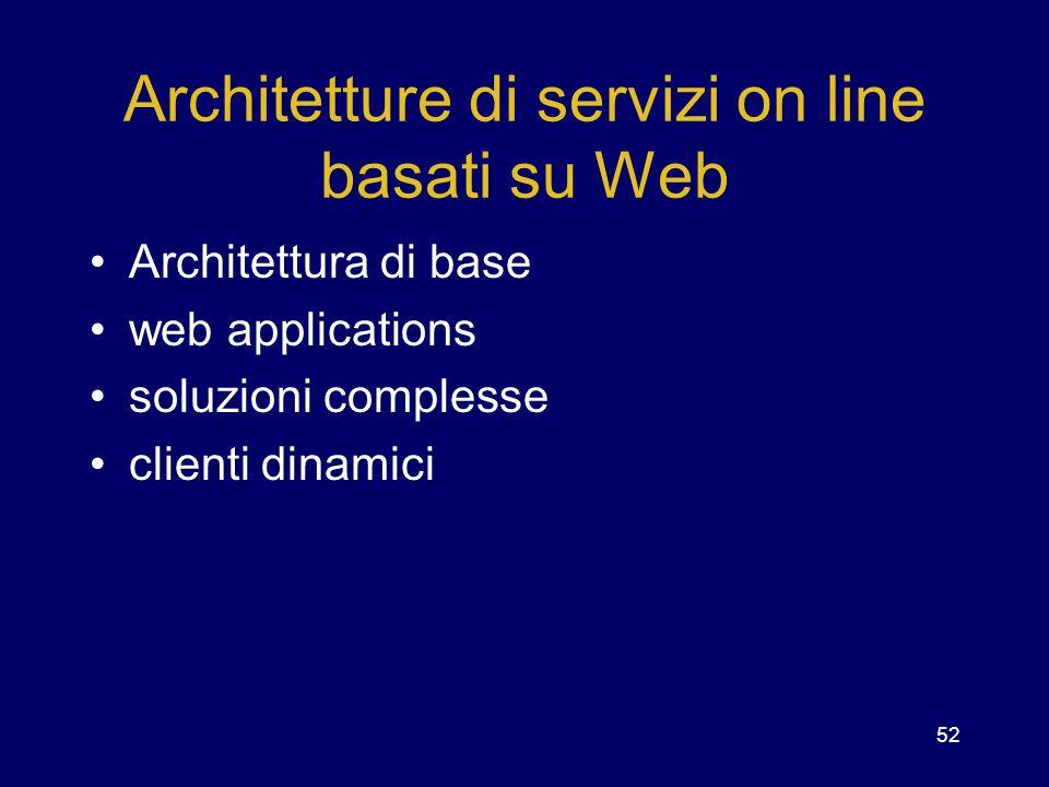 Architetture di servizi on line basati su Web
