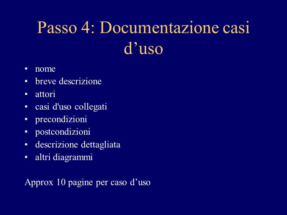 Passo 4: Documentazione casi d'uso