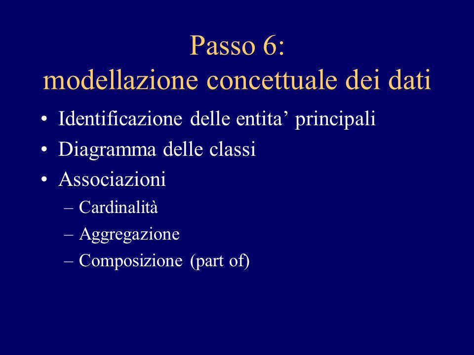 Passo 6: modellazione concettuale dei dati
