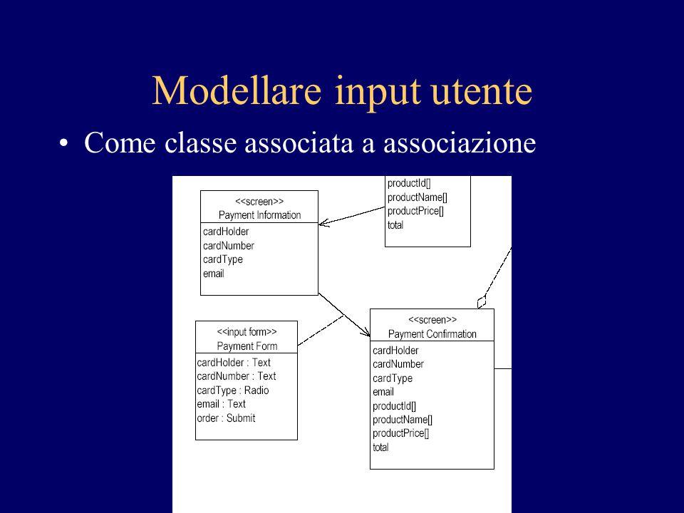 Modellare input utente