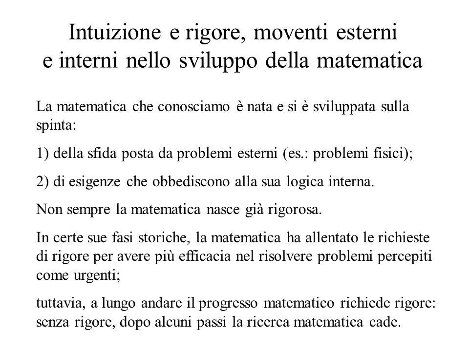 Intuizione e rigore, moventi esterni e interni nello sviluppo della matematica