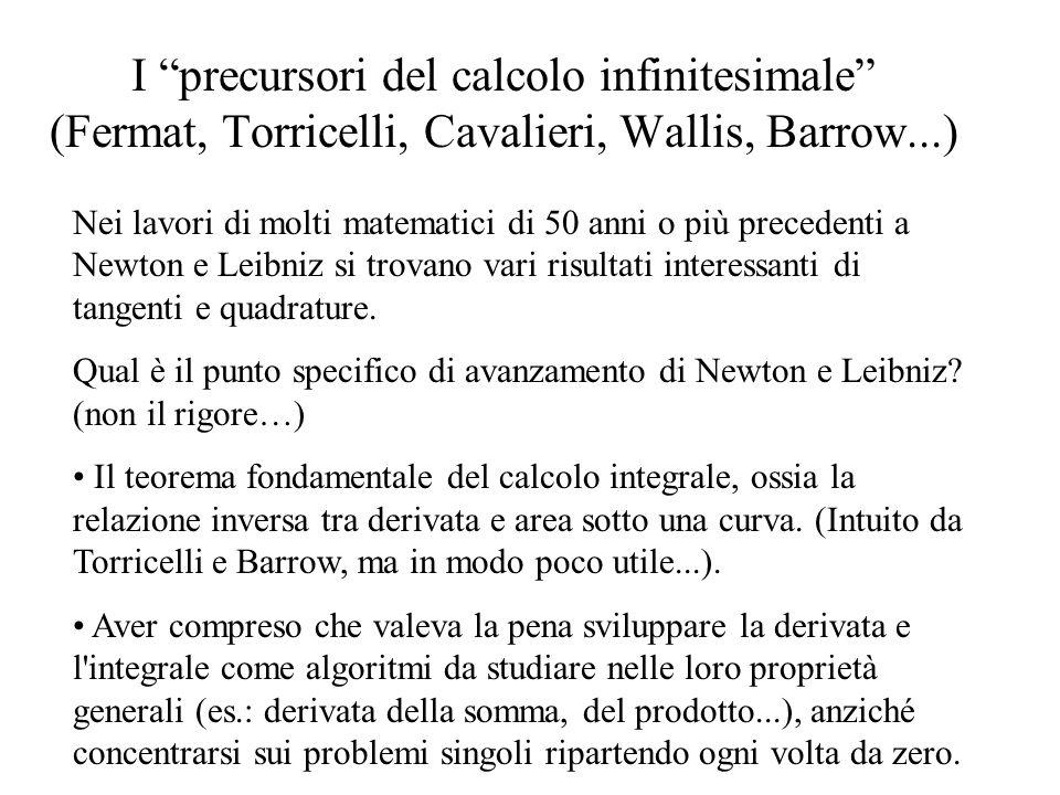 I precursori del calcolo infinitesimale (Fermat, Torricelli, Cavalieri, Wallis, Barrow...)