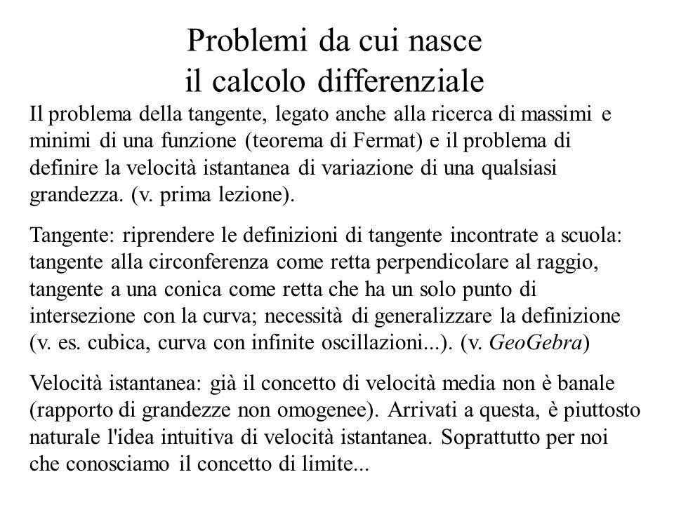 Problemi da cui nasce il calcolo differenziale