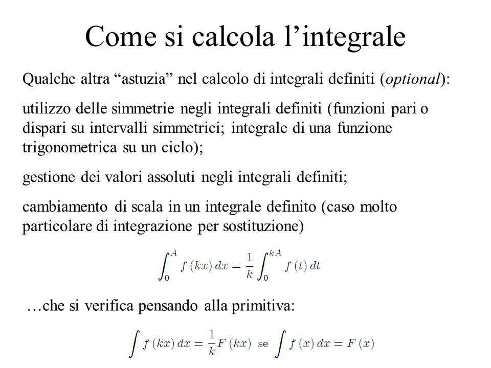 Come si calcola l'integrale