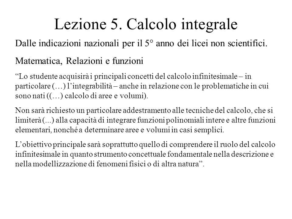 Lezione 5. Calcolo integrale