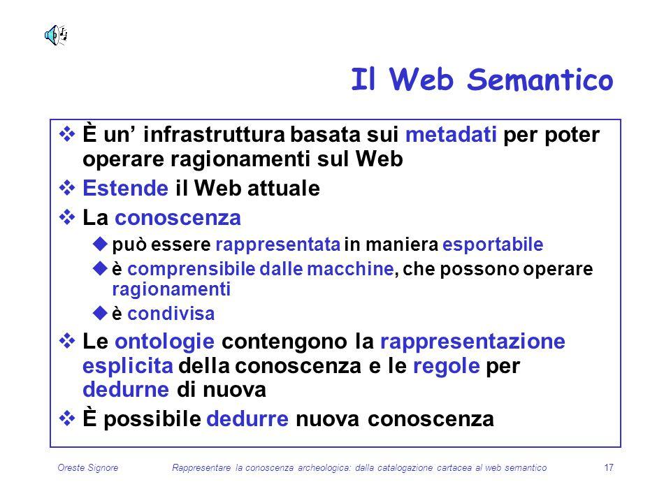 Il Web Semantico È un' infrastruttura basata sui metadati per poter operare ragionamenti sul Web. Estende il Web attuale.