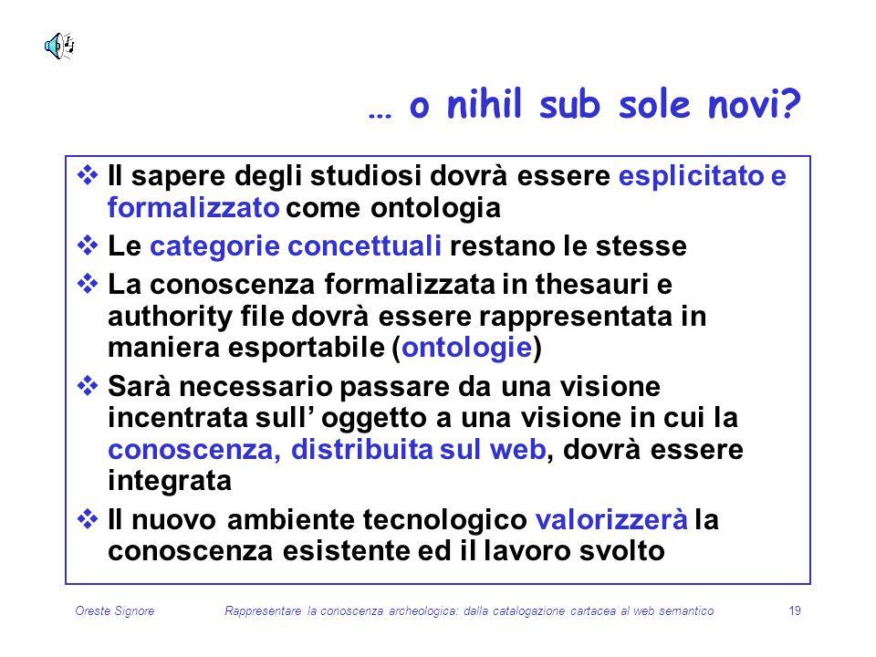 … o nihil sub sole novi Il sapere degli studiosi dovrà essere esplicitato e formalizzato come ontologia.