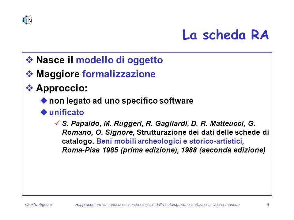 La scheda RA Nasce il modello di oggetto Maggiore formalizzazione