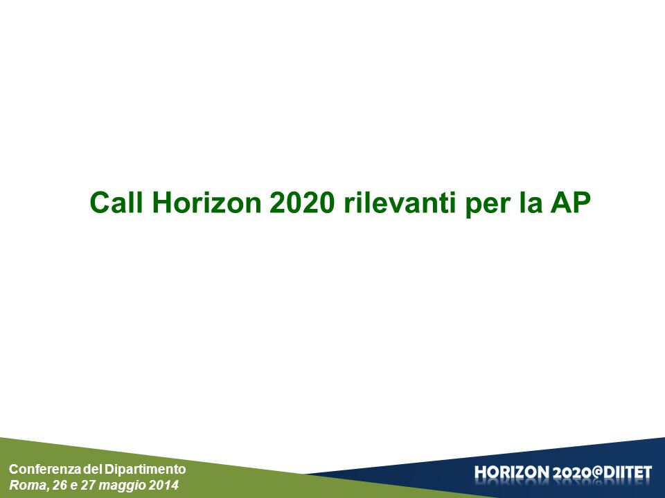 Call Horizon 2020 rilevanti per la AP