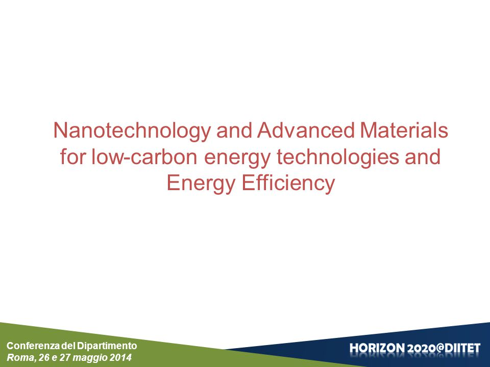 Nanotechnology and Advanced Materials for low-carbon energy technologies and Energy Efficiency