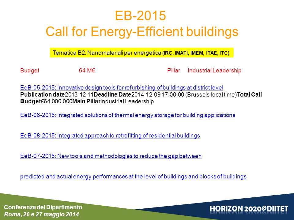 Call for Energy-Efficient buildings