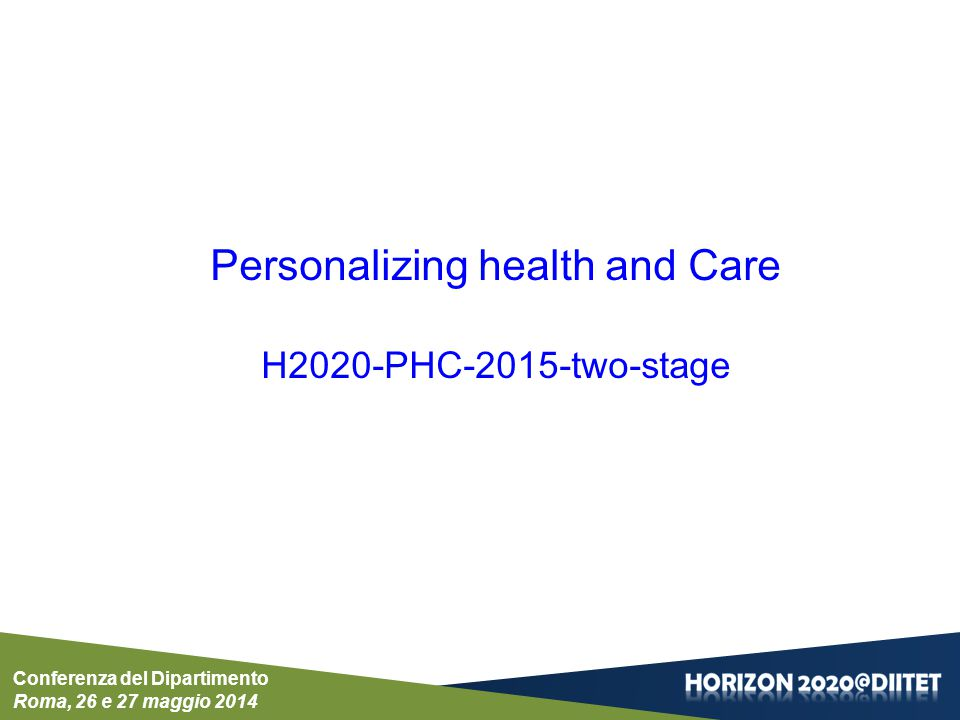 Personalizing health and Care