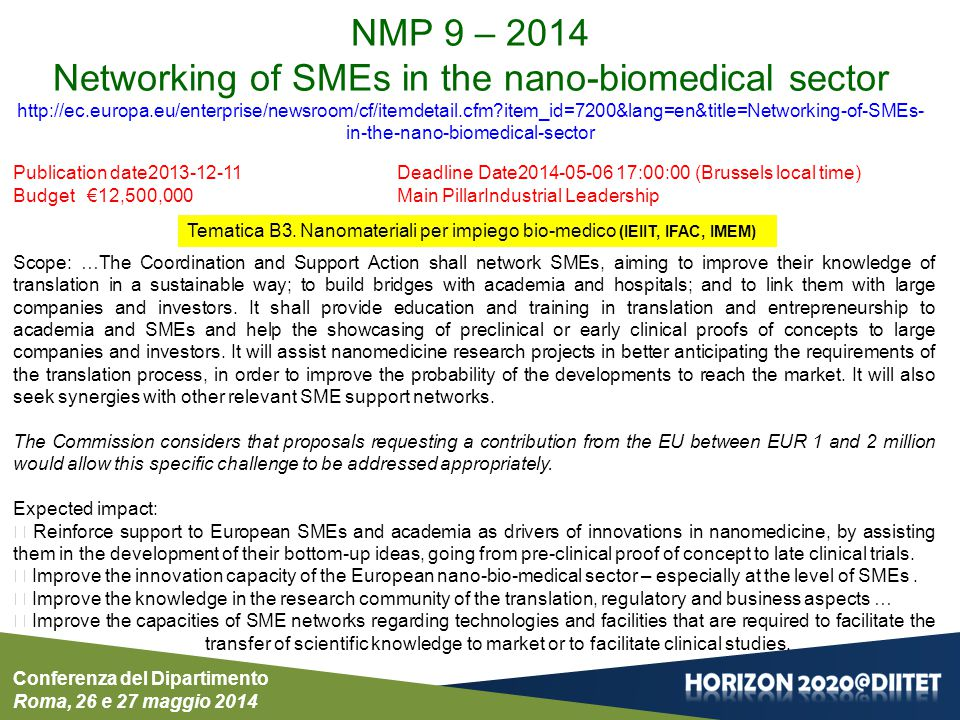 Networking of SMEs in the nano-biomedical sector