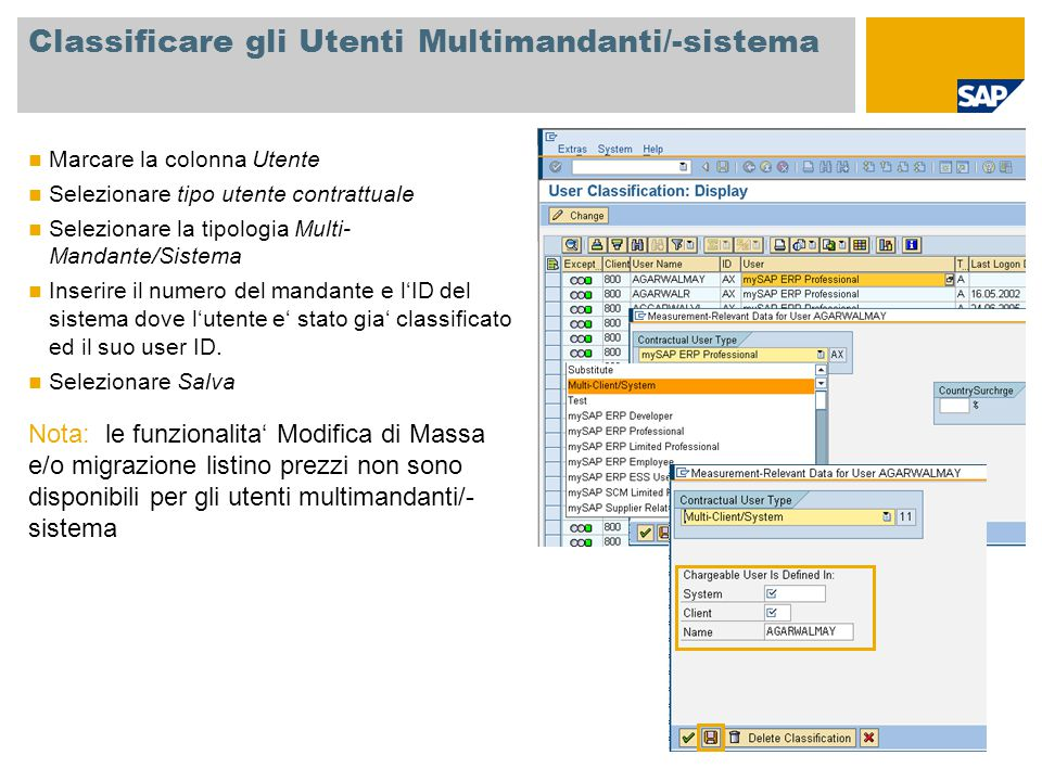 Classificare gli Utenti Multimandanti/-sistema