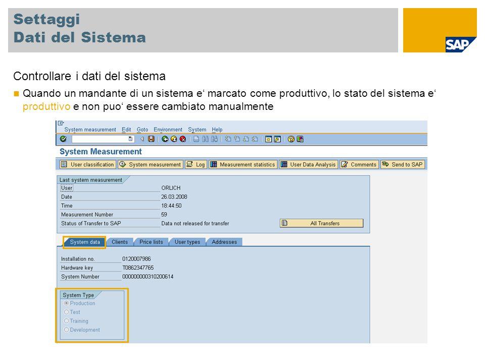 Settaggi Dati del Sistema