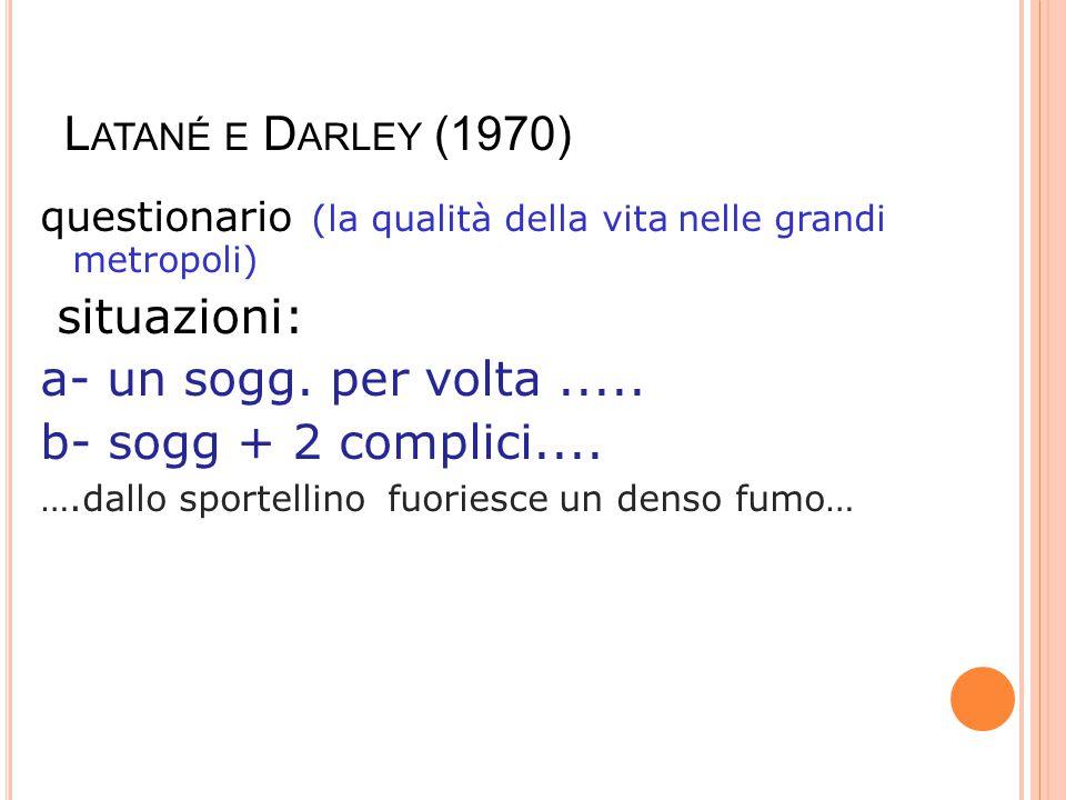 Latané e Darley (1970) situazioni: a- un sogg. per volta .....