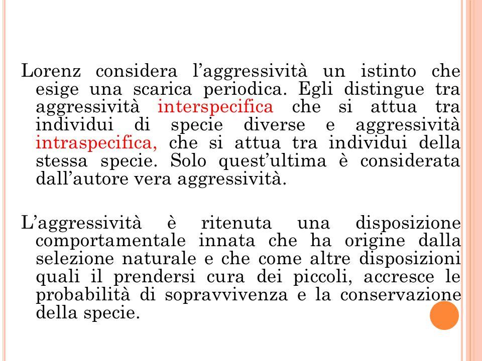 Lorenz considera l'aggressività un istinto che esige una scarica periodica.