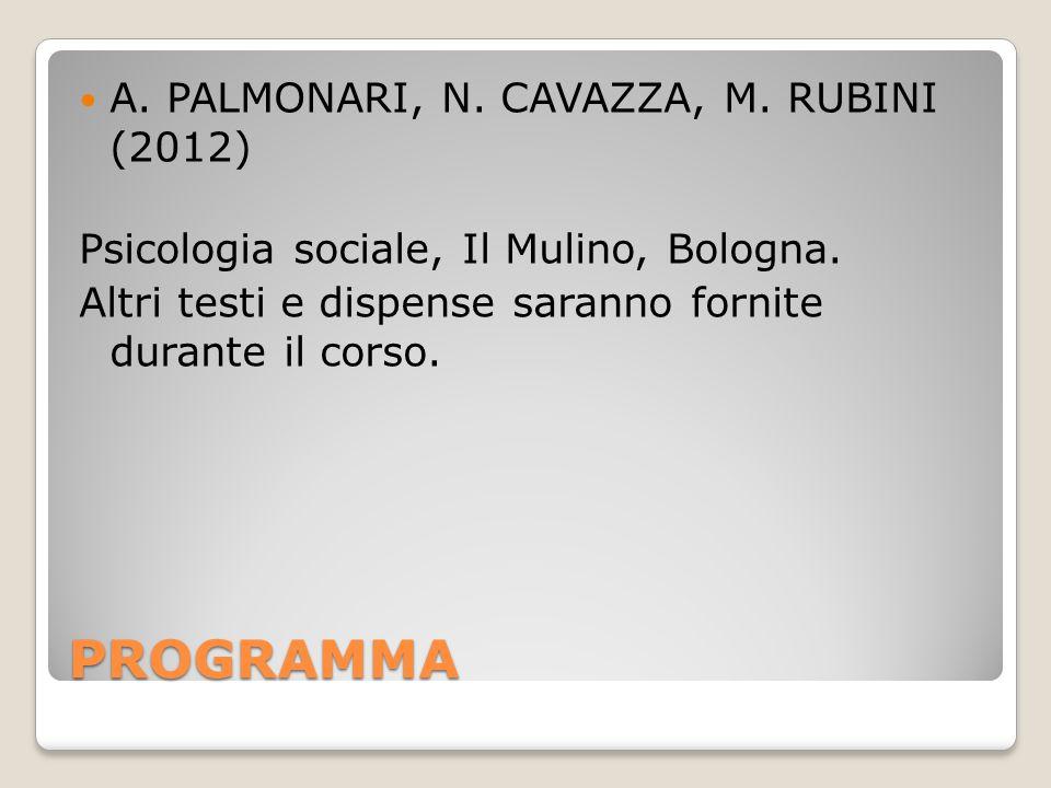 PROGRAMMA A. PALMONARI, N. CAVAZZA, M. RUBINI (2012)