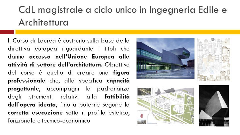 CdL magistrale a ciclo unico in Ingegneria Edile e Architettura