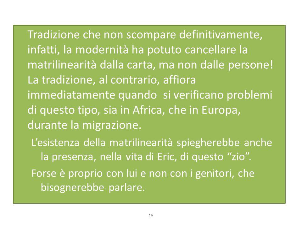 Tradizione che non scompare definitivamente, infatti, la modernità ha potuto cancellare la matrilinearità dalla carta, ma non dalle persone! La tradizione, al contrario, affiora immediatamente quando si verificano problemi di questo tipo, sia in Africa, che in Europa, durante la migrazione.