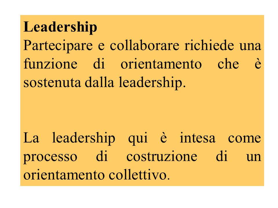 Leadership Partecipare e collaborare richiede una funzione di orientamento che è sostenuta dalla leadership.