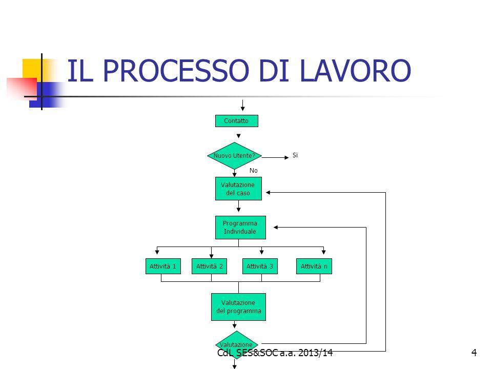 IL PROCESSO DI LAVORO CdL SES&SOC a.a. 2013/14 Contatto Si No