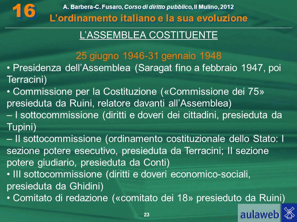 16 L'ordinamento italiano e la sua evoluzione L'ASSEMBLEA COSTITUENTE