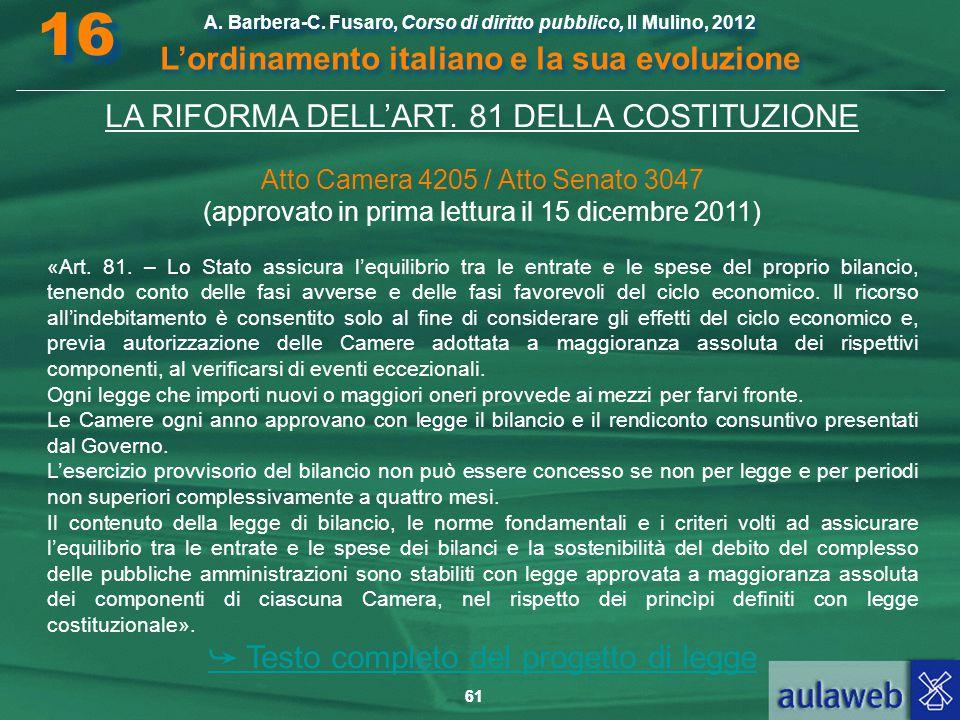 16 L'ordinamento italiano e la sua evoluzione