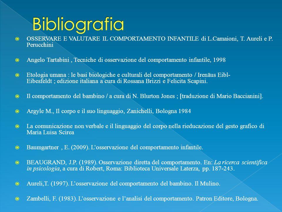 Bibliografia OSSERVARE E VALUTARE IL COMPORTAMENTO INFANTILE di L.Camaioni, T. Aureli e P. Perucchini.