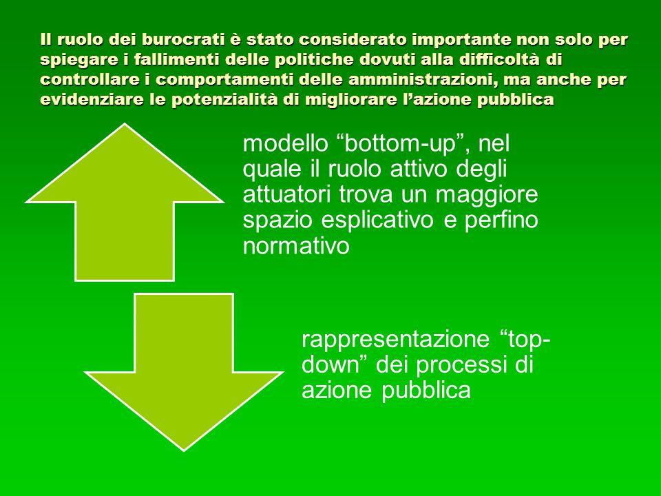 Il ruolo dei burocrati è stato considerato importante non solo per spiegare i fallimenti delle politiche dovuti alla difficoltà di controllare i comportamenti delle amministrazioni, ma anche per evidenziare le potenzialità di migliorare l'azione pubblica
