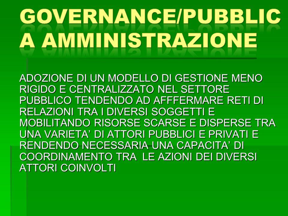 GOVERNANCE/PUBBLICA AMMINISTRAZIONE