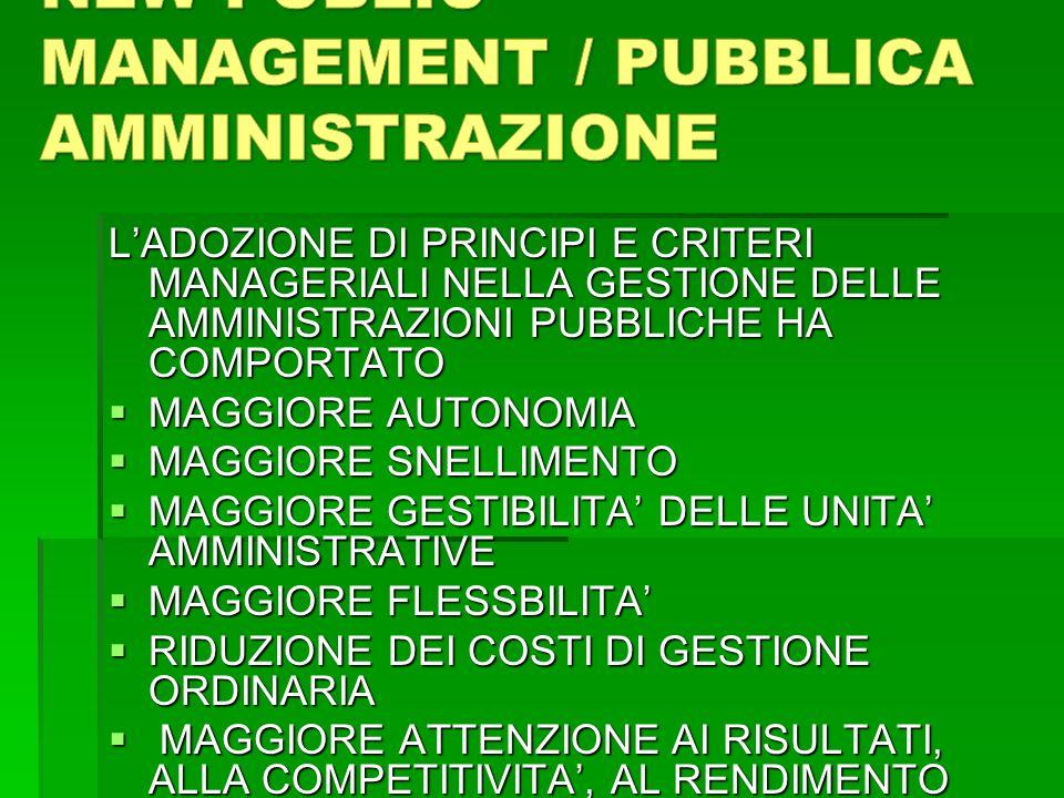 NEW PUBLIC MANAGEMENT / PUBBLICA AMMINISTRAZIONE