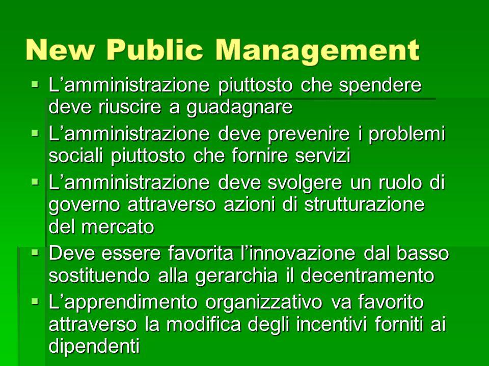 New Public Management L'amministrazione piuttosto che spendere deve riuscire a guadagnare.