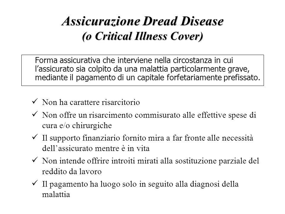 Assicurazione Dread Disease (o Critical Illness Cover)