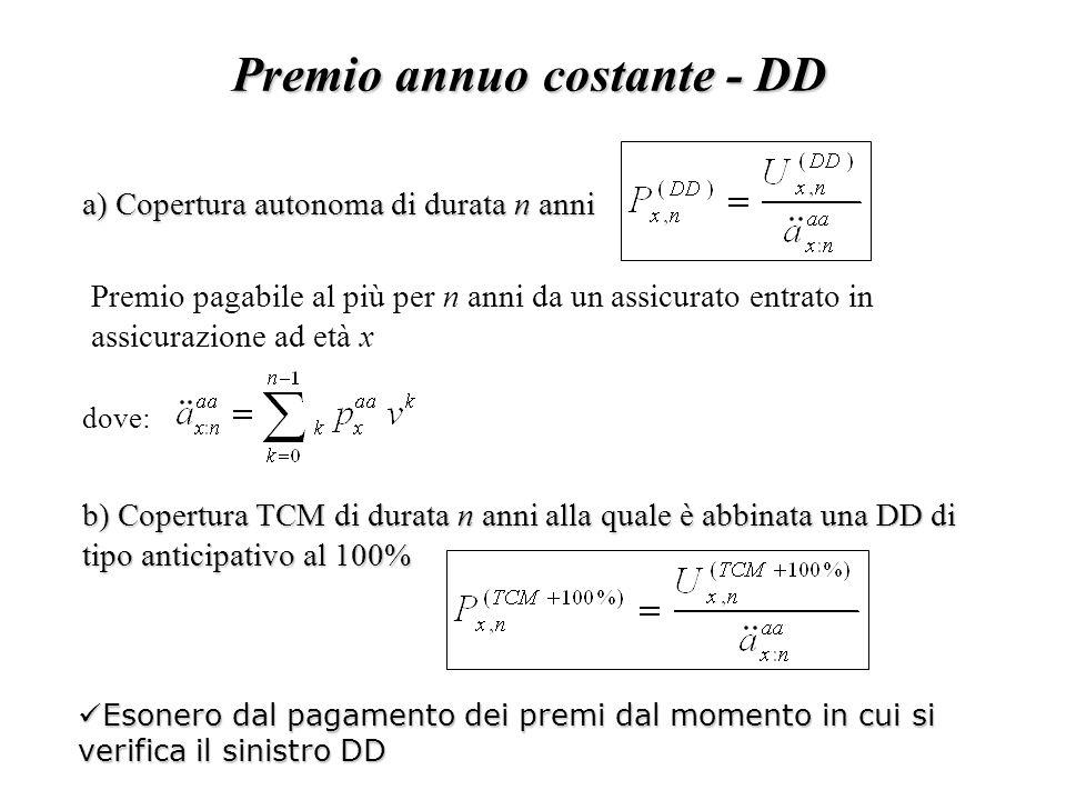Premio annuo costante - DD