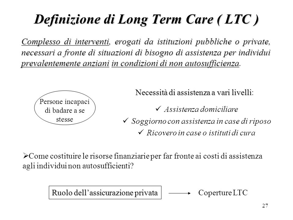 Definizione di Long Term Care ( LTC )