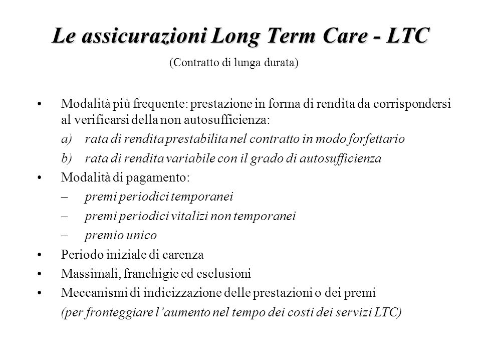 Le assicurazioni Long Term Care - LTC