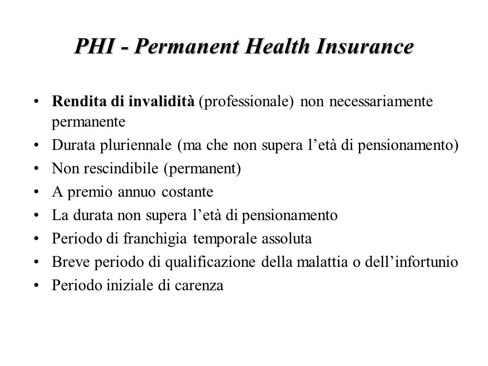 PHI - Permanent Health Insurance