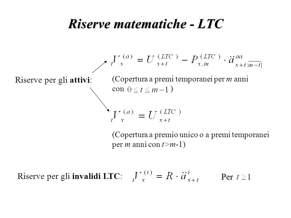 Riserve matematiche - LTC