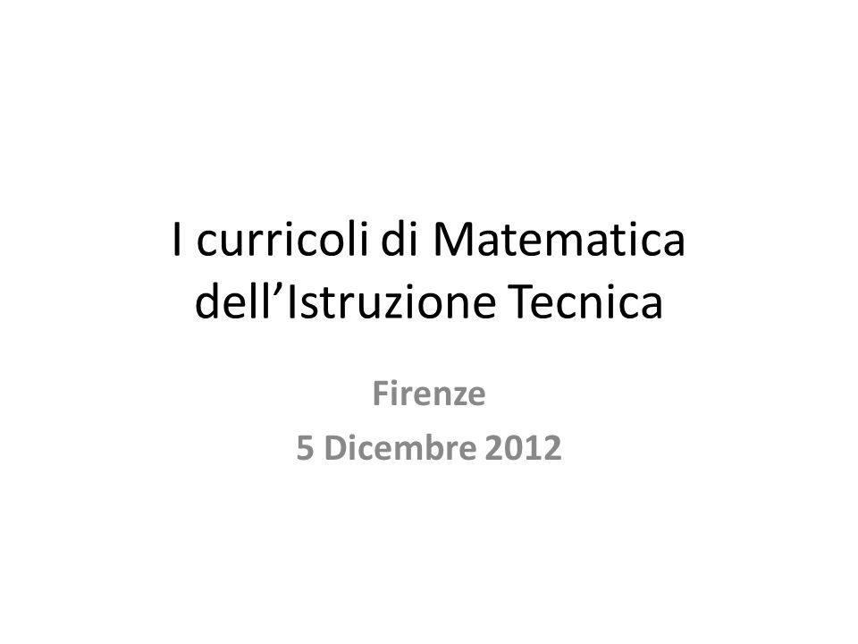 I curricoli di Matematica dell'Istruzione Tecnica