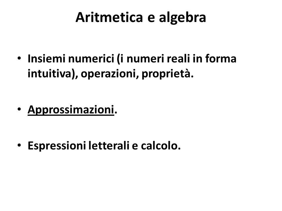 Aritmetica e algebra Insiemi numerici (i numeri reali in forma intuitiva), operazioni, proprietà. Approssimazioni.