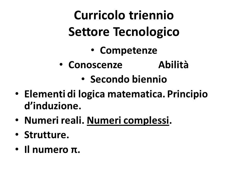 Curricolo triennio Settore Tecnologico