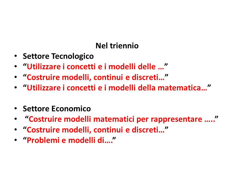 Nel triennio Settore Tecnologico. Utilizzare i concetti e i modelli delle … Costruire modelli, continui e discreti…