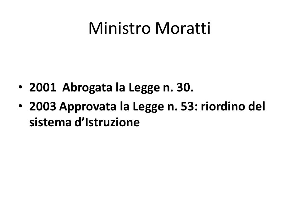 Ministro Moratti 2001 Abrogata la Legge n. 30.