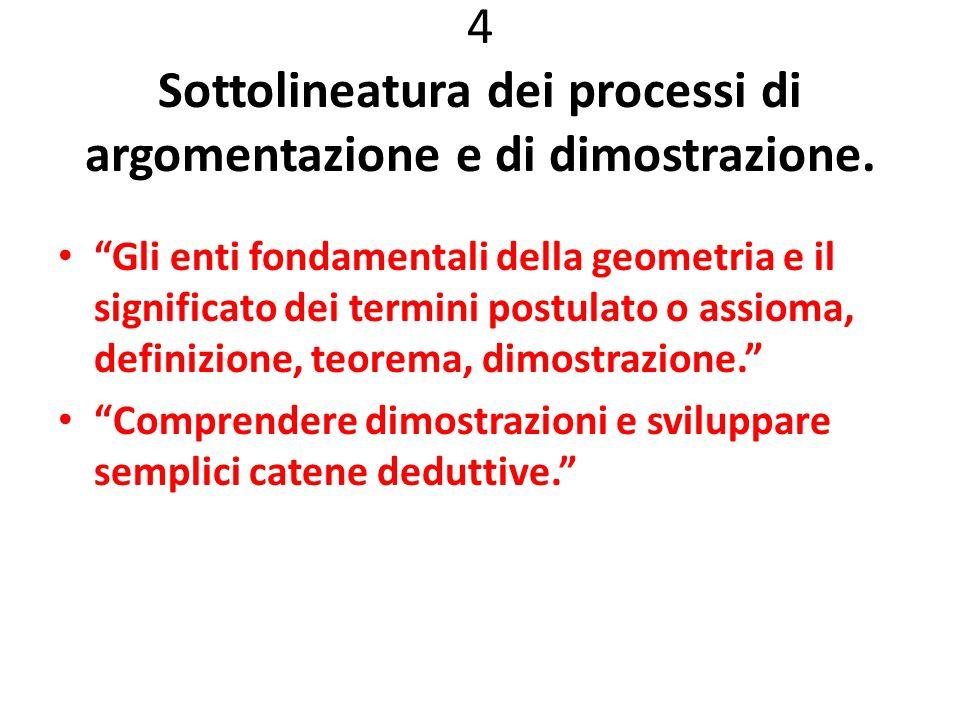 4 Sottolineatura dei processi di argomentazione e di dimostrazione.