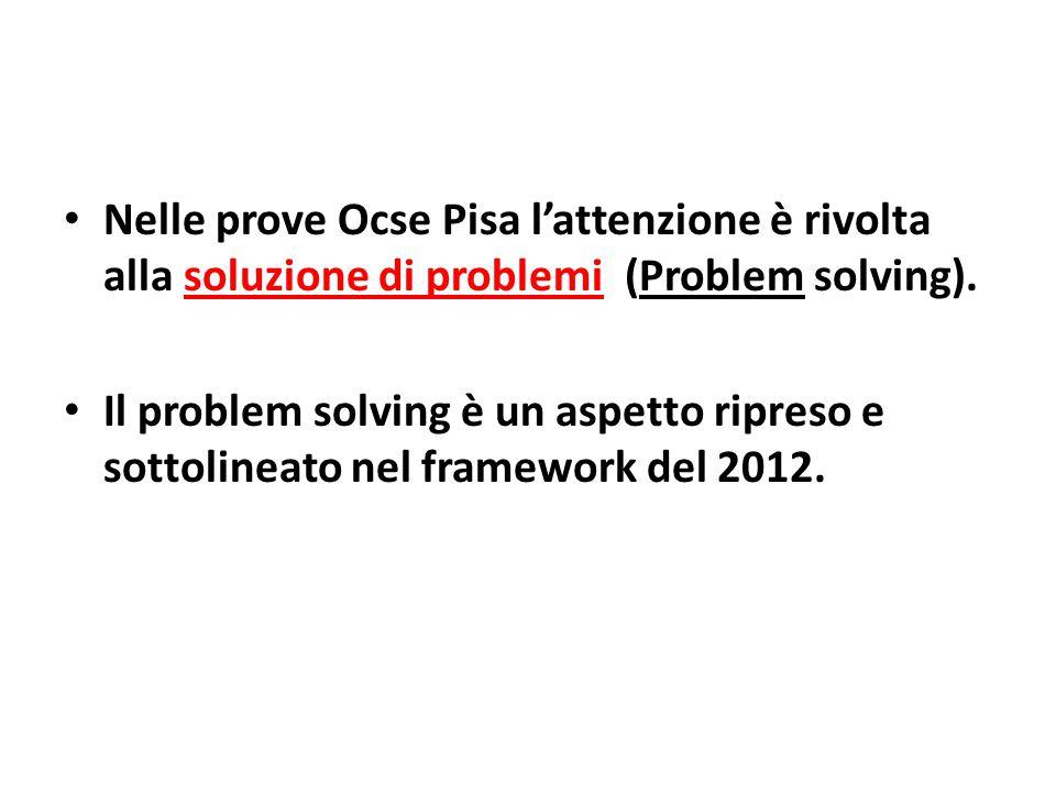 Nelle prove Ocse Pisa l'attenzione è rivolta alla soluzione di problemi (Problem solving).