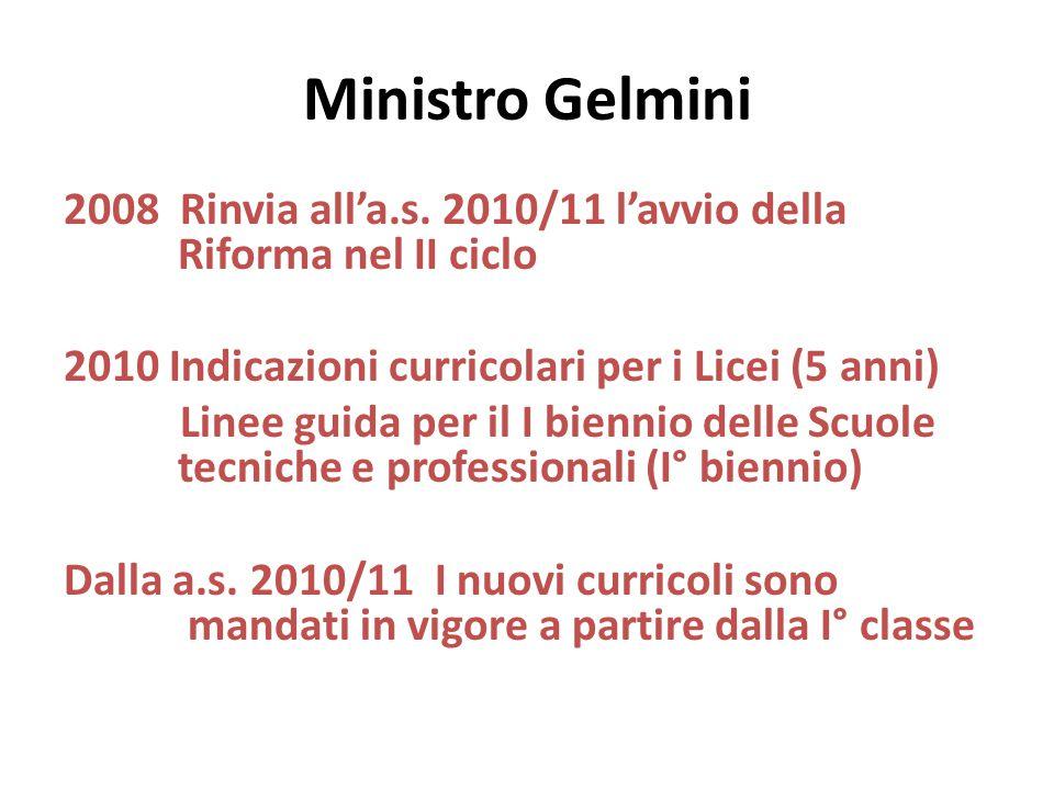 Ministro Gelmini 2008 Rinvia all'a.s. 2010/11 l'avvio della Riforma nel II ciclo. 2010 Indicazioni curricolari per i Licei (5 anni)