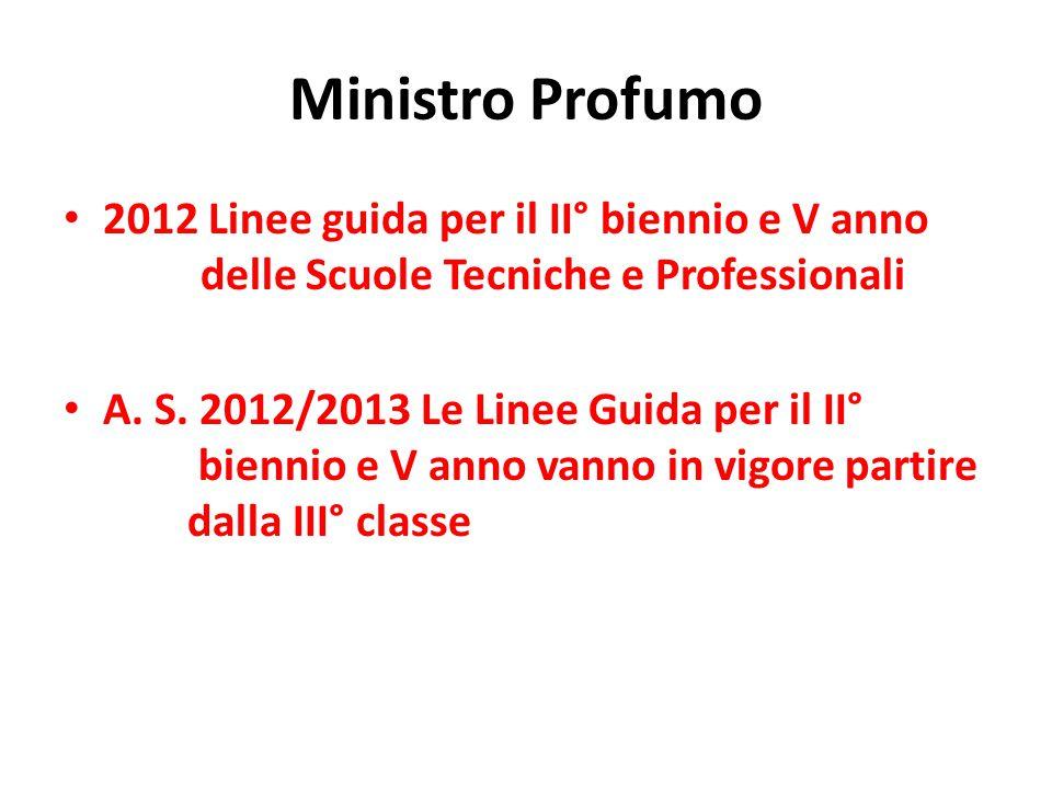 Ministro Profumo 2012 Linee guida per il II° biennio e V anno delle Scuole Tecniche e Professionali.